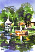 Reflection On Pond Prints - Statue on Pond with Gazebo Print by Kip DeVore