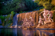 Gods Digital Art - Statues along the waterfall by Clay Greunke