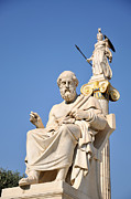 Athena Posters - Statues of Plato and Athena Poster by George Atsametakis