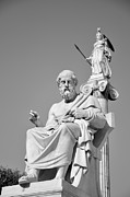 Athena Photos - Statues of Plato and Athina by George Atsametakis
