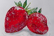 Salad Painting Framed Prints - Stawberries Framed Print by Marisela Mungia