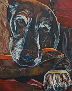 Dog Lying Down Prints - Stax Print by Patti Schermerhorn