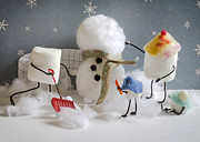 Snow Day Prints - Stay Puff Snowman Print by Heather Applegate