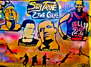 Michael Jordan Painting Framed Prints - Stay True 2 the Game no 1 Framed Print by Tony B Conscious