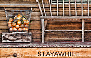 Wooden Stairs Framed Prints - StayAWhile Framed Print by Diana Sainz
