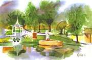 Gazebo Painting Prints - Ste Marie du Lac in Watercolor II Print by Kip DeVore