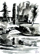 Ink Paintings - Ste Marie du Lac Pond and Parish by Kip DeVore