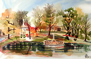 Autumn Scene Painting Framed Prints - Ste. Marie du Lac with Gazebo and Pond I Framed Print by Kip DeVore