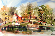Autumn Scene Mixed Media Prints - Ste. Marie du Lac with Gazebo and Pond II Print by Kip DeVore