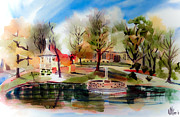 Autumn Scene Mixed Media Prints - Ste. Marie du Lac with Gazebo and Pond III Print by Kip DeVore