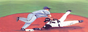 Baseball Paintings - Steal by Jorge Delara