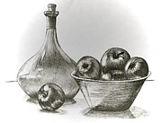 Wine Drawings - Stealing of the Orchard by Linda Simon