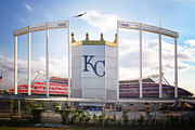 All-star Framed Prints - Stealth Bomber over Kauffman Stadium Framed Print by Raye Pond