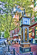 Summer Scene Posters - Steam Clock in Vancouver Gastown Poster by David Smith
