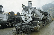 Colorado Glass Art - Steam Engine Silverton Colorado by Robert  Woolley