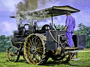 Greyhound Photos - Steam Engineer And Traction Engine by F Leblanc
