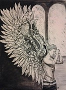 Steampunk Drawings - Steam Punk Angel by Katy Kerr