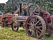 Machinery Digital Art Framed Prints - Steam Threshing At Harvest Time Framed Print by Peter Chapman
