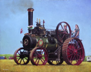 Engineering Painting Framed Prints - steam traction engine Ransomes Sims and Jefferies General Purpose Engine Framed Print by Martin Davey