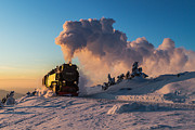 Brocken Prints - Steam train at sunset Print by Christian Spiller