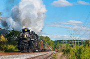 Rail Siding Posters - Steam train getting close Poster by Kenneth Sponsler