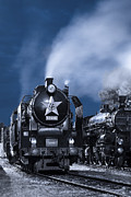 Martin Dzurjanik Metal Prints - Steam Train In The Night Metal Print by Martin Dzurjanik
