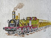 Silk Paintings - Steam train by Olga Belova
