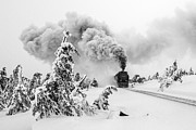 Brocken Prints - Steam train on Brocken mountain Print by Christian Spiller