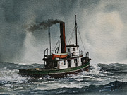 Artist James Williamson Fine Art Prints Prints - Steam Tugboat KATADIN Print by James Williamson