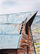 Old Barns Drawings Metal Prints - Steamboat Barn Metal Print by Aaron Spong