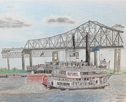 City Scene Drawings - Steamboat Natchez  by Hung Quach