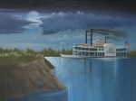 Night Scene Painting Prints - Steamboat on the Mississippi Print by Stuart Swartz