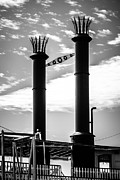 Smokestacks Posters - Steamboat Smokestacks Black and White Picture Poster by Paul Velgos