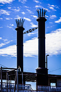 Steamboat Smokestacks On The Natchez Steam Boat Print by Paul Velgos