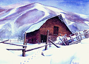 Snowboarding Paintings - Steamboat Winter by Mary Giacomini
