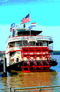 Mississippi River Greeting Cards Posters - Steamer Natchez Paddleboat Poster by Alys Caviness-Gober