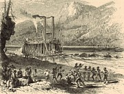 Tennessee River Drawings - Steamer on the Tennessee warped through the Suck - 1872 Engraving by Antique Engravings