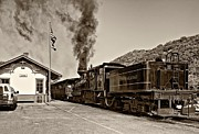 Wv Locomotive Photos - Steaming Away sepia by Steve Harrington