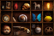 Old Shells Prints - Steampunk - A box of curiosities Print by Mike Savad