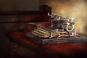 Block Prints - Steampunk - A crusty old typewriter Print by Mike Savad