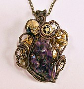 Jordan Jewelry - Steampunk Amethyst Druzy and Swarovski Crystal Pendant in Bronze - STMAMZ1 by Heather Jordan