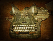 Chicago Digital Art Metal Prints - Steampunk Antique typewriter Oliver Company Metal Print by Svetlana Novikova