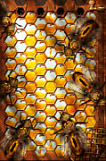 Bee Art Posters - Steampunk - Apiary - The hive Poster by Mike Savad