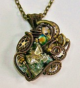 Jordan Jewelry - Steampunk Bismuth and Swarovski Crystal Pendant in Bronze - STMBSM13 by Heather Jordan