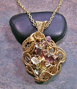 Jordan Jewelry - Steampunk Bismuth and Swarovski Crystal Pendant in Gold- STMBSM12 by Heather Jordan