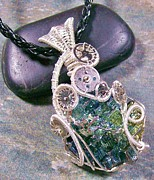 Jordan Jewelry - Steampunk Bismuth Crystal and Silver Pendant by Heather Jordan