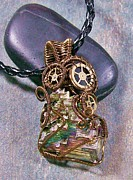 Jordan Jewelry - Steampunk Bismuth Crystal Pendant - OOAK by Heather Jordan