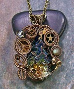 Jordan Jewelry - Steampunk Bismuth Labradorite and Swarovski Crystal Pendant in Bronze by Heather Jordan
