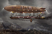 Airships Posters - Steampunk - Blimp - Airship Maximus  Poster by Mike Savad