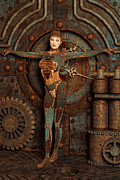 Machinery Digital Art Framed Prints - Steampunk Camouflage Framed Print by Liam Liberty
